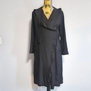 Forever21 Black Hooded Long Line Coat Small